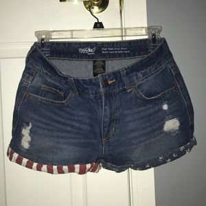 American Flag High Rise Short Shorts Denim